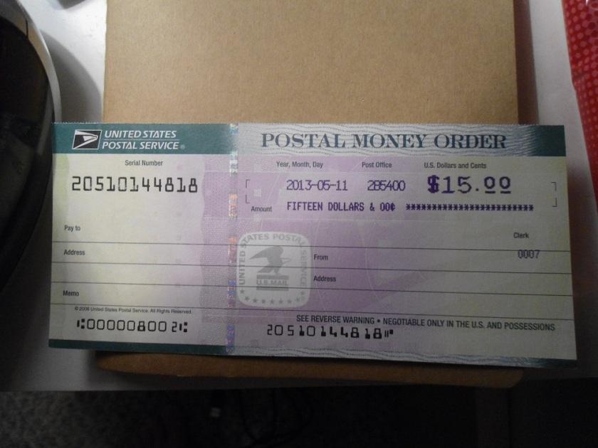 Money Order com o selo do US Postal Service. Preencha os dados antes de enviar.