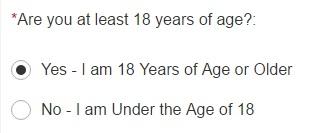 Se errar isso aqui já é desclassificado, pois o programa não aceita menores de 18 anos.
